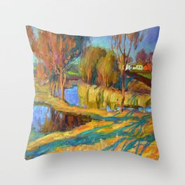 Spring in the village Throw Pillow