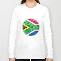south africa Long Sleeve T-shirts featuring South Africa Flag Icon Circle Low Polygon by patrimonio