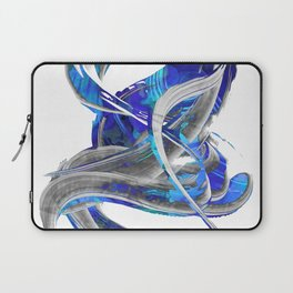 Blue White And Gray Art - Flowing 3 - Sharon Cummings Laptop Sleeve