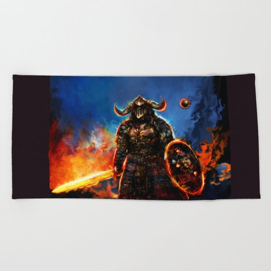 viking and his droid Beach Towel