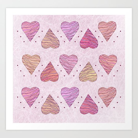 Hearts, love Art Print