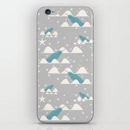 narwhal in ocean grey iPhone Skin