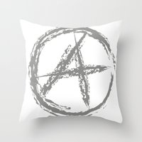 sons of anarchy Throw Pillows featuring Anarchy by Collectivo 2