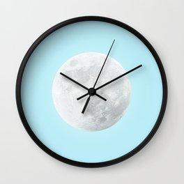 WHITE MOON + BLUE SKY Wall Clock