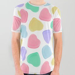 Candy Conversation Hearts Pattern All Over Graphic Tee