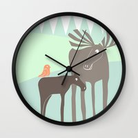 moose Wall Clocks featuring Moose by Dream Of Forest