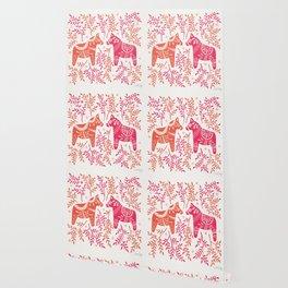 Swedish Dala Horses – Melon Palette Wallpaper