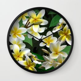Plumeria Flowers Wall Clock