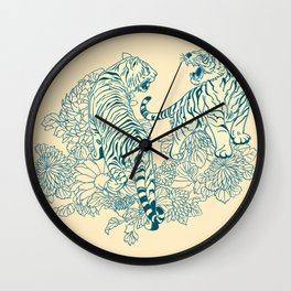 pattern in the style of Japanese prints Wall Clock