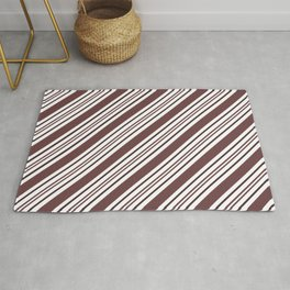 Pantone Red Pear and White Thick and Thin Angled Lines - Diagonal Stripes Rug