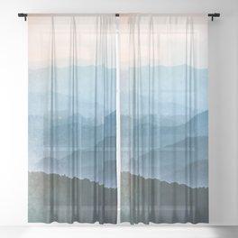 Great Smoky Mountain National Park Sunset Layers - Nature Photography Sheer Curtain