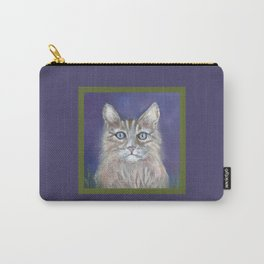 CUTE YOUNG TABBY CAT GREY BEIGE CHALK PASTEL DRAWING Carry-All Pouch