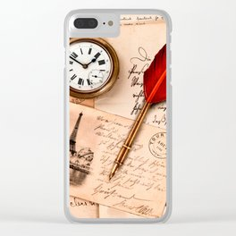 Vintage Old Paper Pen Watch Writing Stamp Postcard Clear iPhone Case