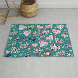 Heart Diamonds are Forever Love Teal Rug