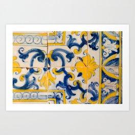 Portuguese azulejos, city of Ericeira Art Print