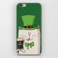 irish iPhone & iPod Skins featuring Saint Patric's cat, Cat cartoon characters, Irish Cat cartoon, ZWD004 by ZeeWillDraw
