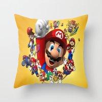 super mario Throw Pillows featuring super mario  , super mario  games, super mario  blanket, super mario  duvet cover, super mario  show by ira gora