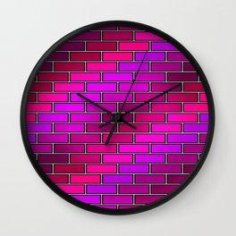 BRICK WALL #2 (Purples, Fuchsias, Violets & Magentas) Wall Clock