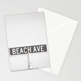 Black and White Beach Street Sign Photography, Grey Coastal Seashore Seaside Shore Gray Beach House Stationery Cards