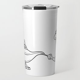 Genie Coming Out of Oil Lamp Black and White Drawing Travel Mug