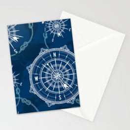 Navy Blue Nautical Pattern Stationery Cards