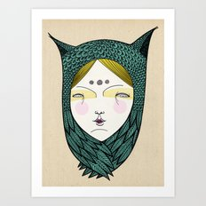 The owl girl Art Print