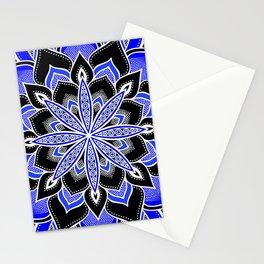 Blue Black & White Flower Mandala Stationery Cards