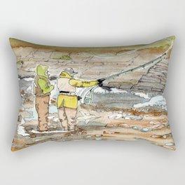 Fly Fishing for Atlantic Salmon, The Ledges, Margaree River, Nova Scotia, Canada Rectangular Pillow