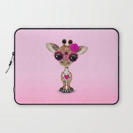 Pink Day of the Dead Sugar Skull Baby Giraffe Laptop Sleeve
