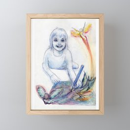 young girl drawing fairies Framed Mini Art Print