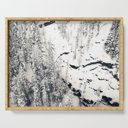 Snow on Textures of Pine Trees and Cliffs Serving Tray