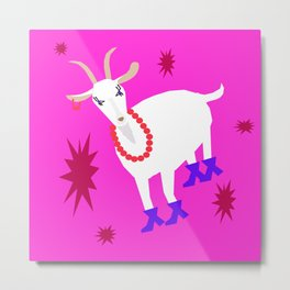 Goat on the Pink Background. Neon. Metal Print