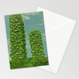 Italy Bosco Verticale Artistic Illustration Green Leaf Style Stationery Cards