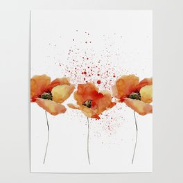 Three Poppies #society6 Poster