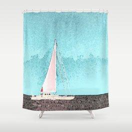 """Sailboat #5"" Art of the Sea by Murray Bolesta Shower Curtain"