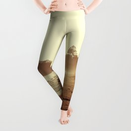 Vintage Retro Sepia Toned Coastal Beach Print Leggings