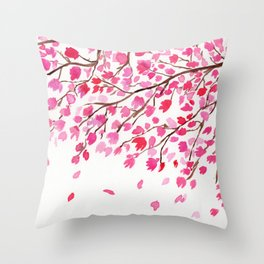 Rain of Cherry Blossom Throw Pillow
