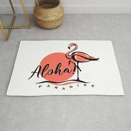 Aloha typography pink flamingo Rug