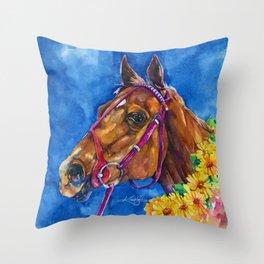 Secretariat Painting, Large Race Horse Watercolor Art Throw Pillow