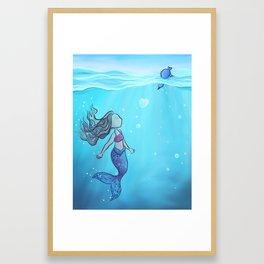 mermaid love Framed Art Print
