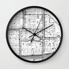 Vintage Map of Cincinnati Ohio (1841) BW Wall Clock