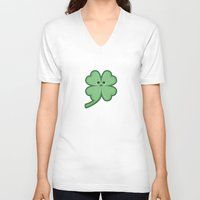 kawaii V-neck T-shirts featuring Kawaii Clover by Nir P