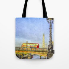 London Bus and London Eye Watercolour Tote Bag