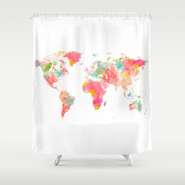 world map pink floral watercolor Shower Curtain