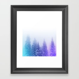 Blue and Purple Pines Framed Art Print