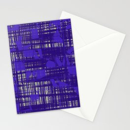 Blue random shapes hovering all over the blue messy lines above white background Stationery Cards