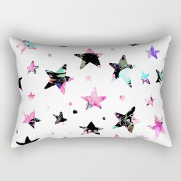 Abstract pink violet black watercolor geometrical stars Rectangular Pillow