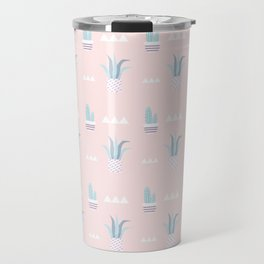 Blush pink blue white summer cactus modern floral Travel Mug