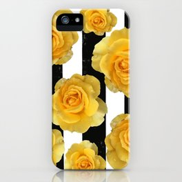 Yellow Roses on Black & White Stripes iPhone Case