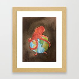 Octopus and Earth Framed Art Print